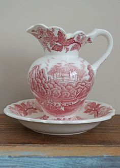 Vintage Red Transferware Pitcher and Bowl Set $11.50
