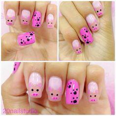 Instagram photo by  20nailstudio #nail #nails #nailart Cute Nail Art, Cute Nails, Pretty Nails, Animal Nail Designs, Diy Nail Designs, Color Nails, Nail Colors, Nail Nail, Nail Polish
