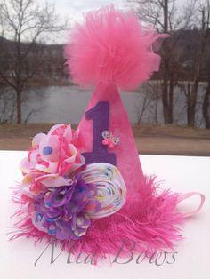 1st Birthday Girls Pink Polka Dot Birthday Hat Photo by MiaBows, $20.00