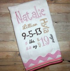 Birth Record Pink and Brown Monogrammed Birth Stats Burp Cloth by BlumersEmbroidery, https://www.etsy.com/listing/168063660/birth-record-pink-and-brown-monogrammed