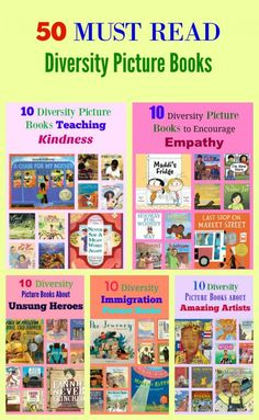50 MUST READ Diversity Picture Books. I've chosen fifty of my favorite diversity picture books and wrote book descriptions in the style of a Haiku poem. I've broken the picture books into five categories: - 10 Diversity Picture Books Teaching Kindness - 10 Diversity Immigration Picture Books - 10 Diversity Picture Books to Encourage Empathy - 10 Diversity Picture Books About Unsung Heroes - 10 Diversity Picture Books about Amazing Artists #ReadYourWorld #diversity #picturebooks