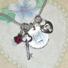 Lock and Key Hand Stamped Sterling Silver Initial Charm Necklace by #DolphinMoonCreations #lockandkey #intiialcharmnecklace