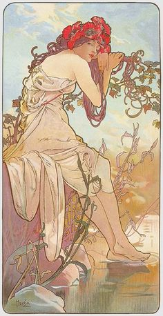 'Ete' (Summer) from The Seasons series. (1896) - Alphonse Mucha (1860-1939)