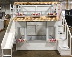 NEW*** special edition of our popular Mia's Country Cottage Bed, Loft, Bunk Bed, Playhouse with Trundle Safe Bunk Beds, Twin Bunk Beds, Kids Bunk Beds, Benjamin Moore, Trundle Bed With Storage, Built In Storage, Storage Shelves, Stair Plan, Farmhouse Style Furniture