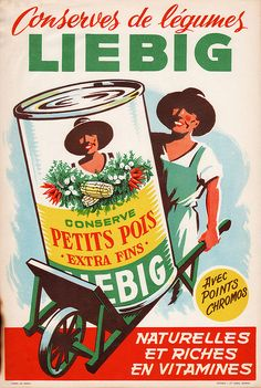 Liebig Grocery store sign poster - Conserve Petits Pois - 1940s 1950s by JasonLiebig, via Flickr