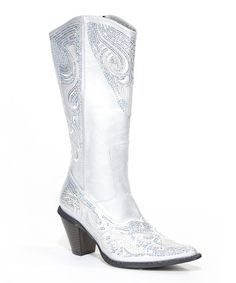 Loving this John Fashion Silver Sequin Cowboy Boot on #zulily! #zulilyfinds