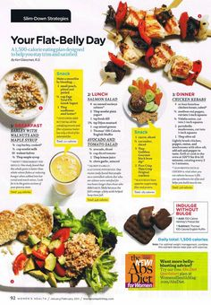 healthyeats: Your Flat-Belly Day A 1,500-calorie eating plan designed to help you stay trim and satisfied.