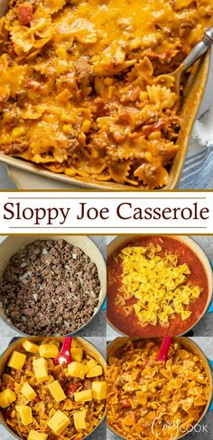 This Sloppy Joe Casserole is loaded with pasta noodles and juicy beef smothered in a cheesy Manwich sauce with tomatoes and corn! This pantry meal makes a great freezer food and can be prepared as a One Pot meal as well! Creamy Corn Casserole, Easy Casserole Recipes, Easy Recipes, Dinner Recipes, Sloppy Joe Casserole, Slow Cooker, Comfort Food, Side Dishes Easy, Main Dishes