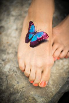 3D Realistic Colorful Butterfly Tattoo on Foot