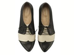 Polly Jean, black and white, b shoes, flat shoes, leather shoes