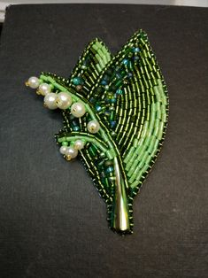 """Turn up side down and try to bead earrings. Great idea. Брошь """"Ландыш"""""""
