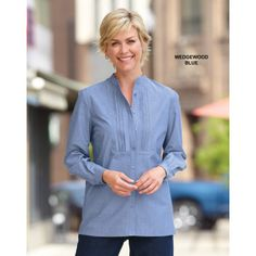 """""""They are so cute and just my style."""" ~ """"kittymom"""" about our chambray blouses in blue,violet and rose"""