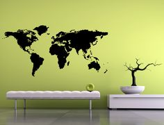 World map decal available in a ton of colours including turquoise.