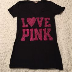 """PINK glitter tee Victoria's Secret PINK V-neck tee. Black with pink glitter """"LOVE PINK"""" writing. Very soft cotton.     BUNDLE to save 20% PINK Victoria's Secret Tops Tees - Short Sleeve"""
