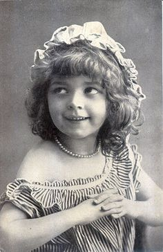 VERY CUTE EDWARDIAN GIRL in STRIPED DRESS REAL PHOTO