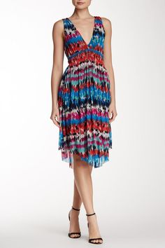 """This is the perfect summer dress! The deep """"V"""" plunges in the front and the back. It has an empire waist and asymmetrical hem.   Deep V-Neck Dress by Weston. Clothing - Dresses Maryland"""