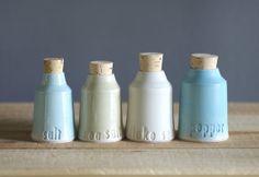 custom salt and pepper bottle set  small by vitrifiedstudio