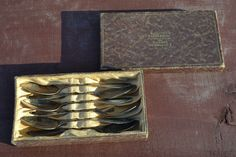 6 alte 800 Silber Kaffeelöffel im Original Etui Insterburg Konigsberg Ostpreusse
