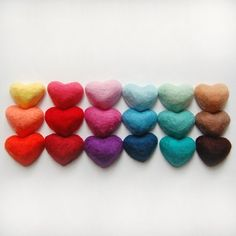 MADE TO ORDER Felted Soaps Set of 18 Hearts ($72.00)