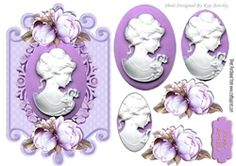 pretty cameo lady with purple  roses on a plaque oval pyramids on Craftsuprint - View Now!