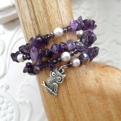 Reiki charged purple amethyst and freshwater pearls wrap bracelet £14.00