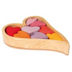 Wooden Heart Blocks from Germany in shades of red, pink, and orange. Sweet way to show your love on Valentine's Day or at any time of year! From www.bellalunatoys.com $49.95