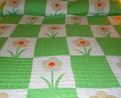 Handmade Flower Quilt Green Orange White by MissPattisAttic