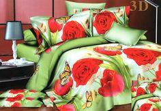 Povlečení zelené barvy s červenými růžemi Bedding Sets, Red Roses, Comforters, Blankets, 3d, Creature Comforts, Quilts, Bed Linens, Blanket