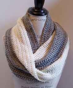 This infinity scarf is simple to work using a variation of the single crochet stitch. It creates a great drape and nice swirl of colors. It is a great project for beginners and novices.