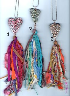 the art and obsessions of sandy lupton - Pin Coffee Ribbon Jewelry, Tassel Jewelry, Textile Jewelry, Fabric Jewelry, Clay Jewelry, Jewelry Crafts, Jewellery, Diy Tassel, Tassels