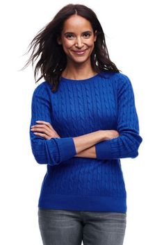 Women's+Combed+Cotton+Classic+Cable+Sweater+from+Lands'+End