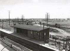 State Records NSW - Blacktown Railway Station Platform 1-1954. The Richmond branch line is to the right.