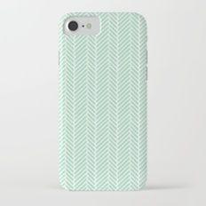 Herringbone Mint Inverse Slim Case iPhone 7
