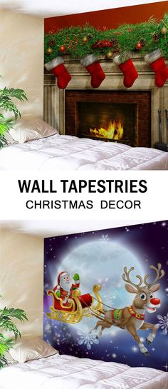 Wall Hanging Art Decor Christmas Fireplace Print Tapestry