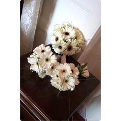 white / black gerbera bouquets