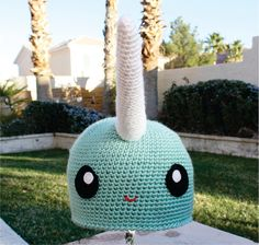 Narwhal Hat Kawaii Japanese ish Handmade Crochet by littlepopos, $27.00 A virtual gift for @Amy Scott