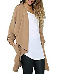 NWT Lightweight Trench Jacket -great for layering Women Chiffon Sheer Long Sleeve Waterfall Trench Coats Cape Cardigan // Size realistically but marked as 16 // Color: Khaki Jackets & Coats Khaki Jacket, Trench Jacket, Trench Coats, Fashion Tips, Fashion Design, Fashion Trends, Arm, Bell Sleeve Top, Chiffon