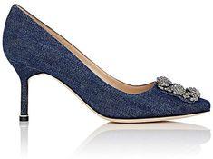 manolo blahnik heels down Blue Pumps, Women's Pumps, Gold Heels, Stiletto Heels, Denim Pumps, Manolo Blahnik Hangisi, Designer Heels, Fashion Heels, Women's Fashion