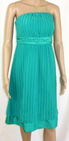 Moulinette Soeurs Dress 14 Silk Strapless Green Tie Lined #MoulinetteSoeurs #Sheath #Formal