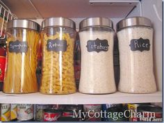 Dollar General jars for storing dry products. You can fit like 4 boxes of pasta in one jar..reduces clutter!