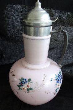 Syrup pitcher vintage pink with enameling - metal lid  US $135.00