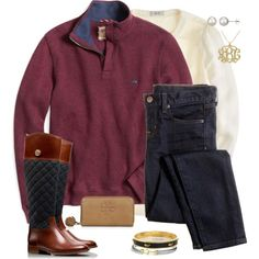 Minus all of the jewelry, this is a superb study outfit. Cozy enough to curl up at the library with a few books.