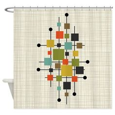 Eames-Era Squares Art Shower Curtain