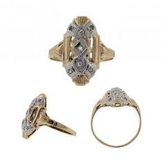 Antique Petite Navette Style Ring, circa 1920, $248.00
