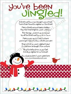 Christmas Gifts Inspiration : Its Written on the Wall: Christmas Youve Been Jingled Cute Way to Package Treats for Neighbor Gifts Family & Friends Christmas Party Games, Christmas Activities, Christmas Printables, Christmas Projects, Christmas Traditions, Holiday Crafts, Holiday Fun, Family Holiday, Christmas Decorations