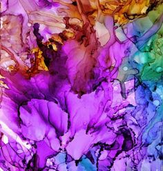 Alcohol Ink: Abstract Flower Painting by Karen Walker  More here to view