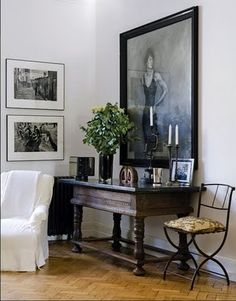 Statement piece- love the idea of a large photo hanging. Idea: family, kids, special other, special memory