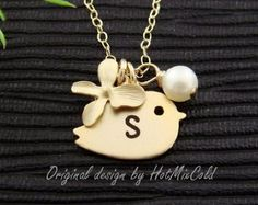 Gold Initial Charm Bird Necklace, Pearl, Orchid Jewelry, Personalized Monogram Necklace, Nature, Sisters, Daughter, Cute Dainty Necklace
