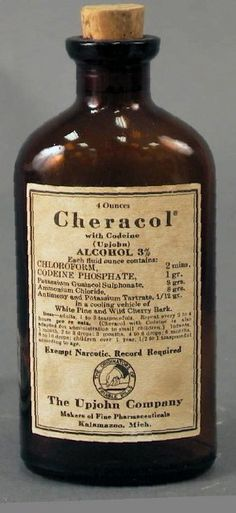 Medicine bottle of Cheracol, ca. 1950. (Kentucky Historical Society). Cough syrup.  Read ingredients. No wonder it worked and we slept good.