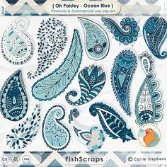 Digital Clip Art Ocean Blue Paisley ClipArt Trendy by FishScraps, $6.75